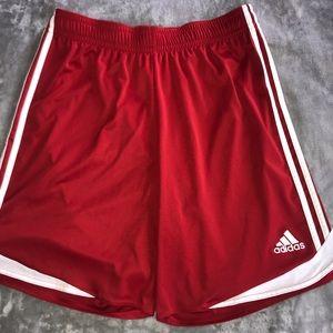 ADIDAS red soccer/basketball shorts